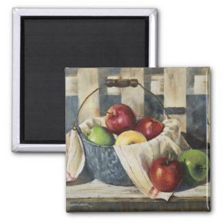 0449 Apples in Enamelware Pail 2 Inch Square Magnet