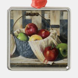 0449 manzanas en cubo del Enamelware Adorno Navideño Cuadrado De Metal