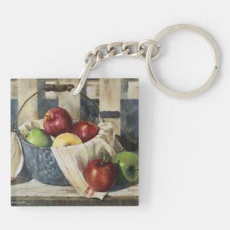0449 manzanas en cubo del Enamelware Llavero Cuadrado Acrílico A Doble Cara