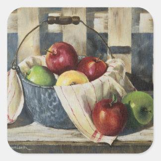 0449 manzanas en cubo del Enamelware Pegatina Cuadrada