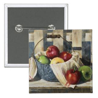 0449 manzanas en cubo del Enamelware Pin Cuadrado