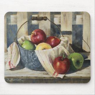 0449 manzanas en cubo del Enamelware Tapete De Raton