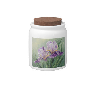 0455 Purple Irises Cannister Candy Dishes