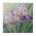 "0455 Purple Irises Ceramic Tile<br><div class=""desc"">From an original acrylic painting by Ruth Garrison.</div>"
