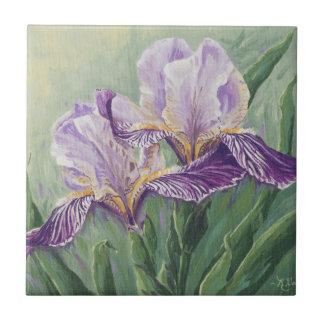 0455 Purple Irises Small Square Tile