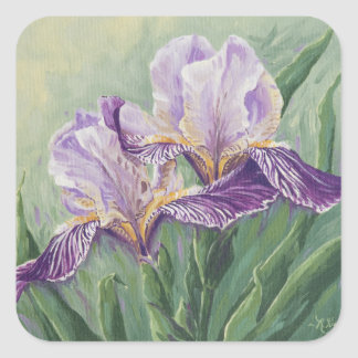 0455 Purple Irises Square Sticker
