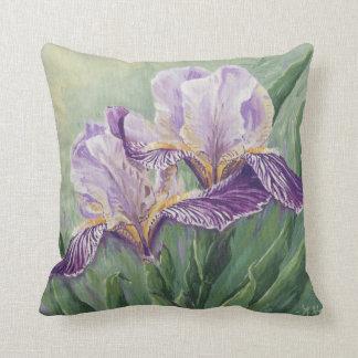 0455 Purple Irises Throw Pillows