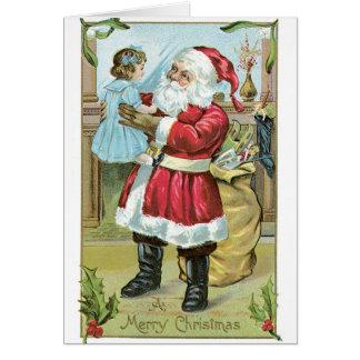 045 Vintage Christmas Card Santa Claus Little Girl