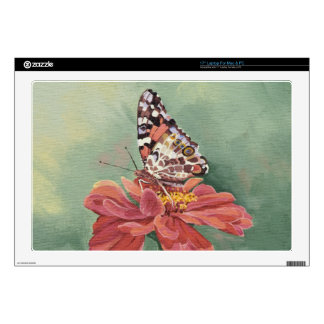 """0461 Painted Lady Butterfly on Zinnia 17"""" Laptop Decals"""