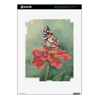 0461 Painted Lady Butterfly on Zinnia iPad 3 Decal