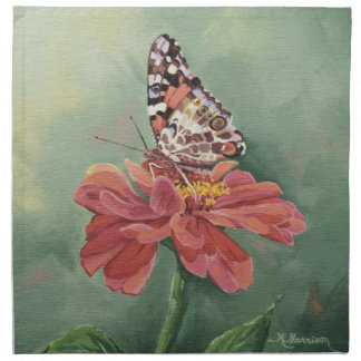 0461 Painted Lady Butterfly on Zinnia Napkin