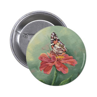 0461 Painted Lady Butterfly on Zinnia Pinback Button