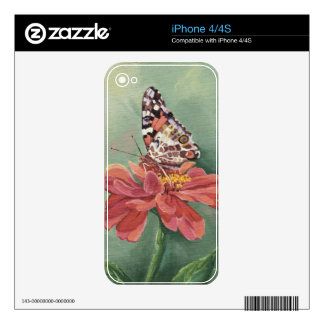 0461 Painted Lady Butterfly on Zinnia Skin For iPhone 4S