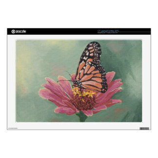 "0465 Monarch Butterfly on Zinnia 17"" Laptop Skin"