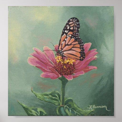 0465 Monarch Butterfly on Zinnia Art Print