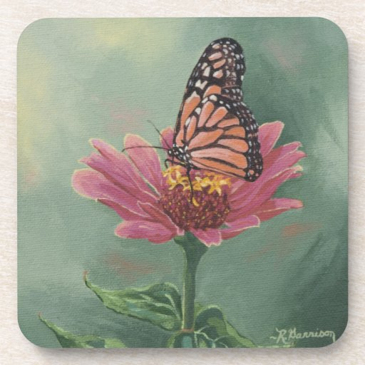 0465 Monarch Butterfly on Zinnia Beverage Coaster