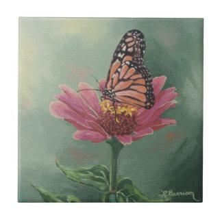 0465 Monarch Butterfly on Zinnia Ceramic Tile