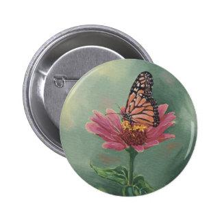 0465 Monarch Butterfly on Zinnia Pinback Button
