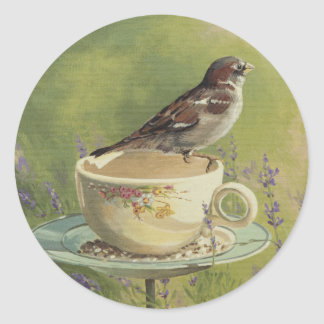 0470 Sparrow Classic Round Sticker