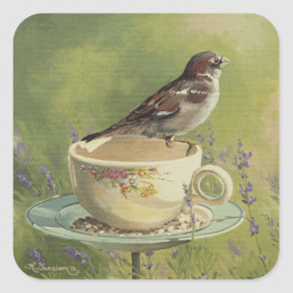 0470 Sparrow Square Stickers