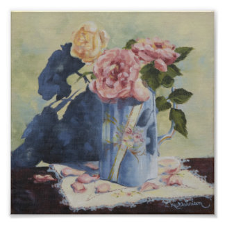 0476 English Roses in Blue Pitcher Art Print