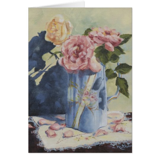 0476 English Roses in Blue Pitcher Birthday Card