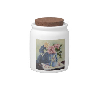 0476 English Roses in Blue Pitcher Candy Jar