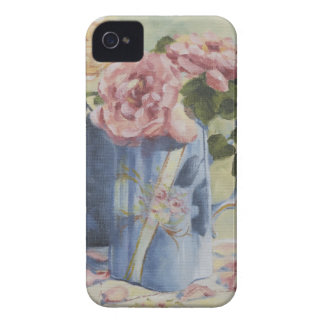 0476 English Roses in Blue Pitcher iPhone 4 Cover