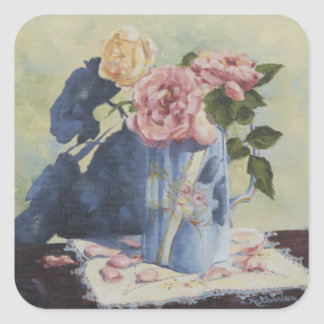 0476 English Roses in Blue Pitcher Square Sticker
