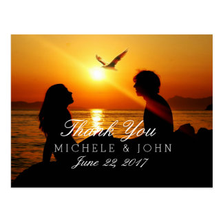 047-Silhouette of couple in sunset on the beach  ( Postcard