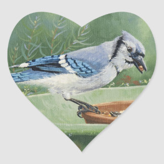 0481 Blue Jay at Feeder Heart Sticker