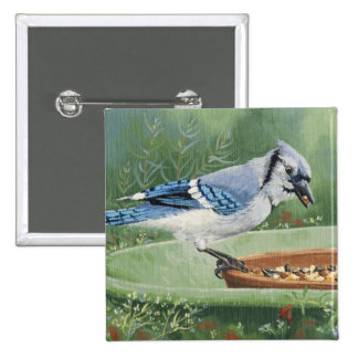 0481 Blue Jay at Feeder Pinback Button