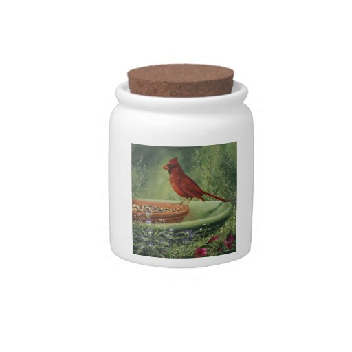 0487 Cardinal Cannister Jar Candy Dishes