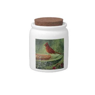 0487 Cardinal Cannister Jar Candy Jars