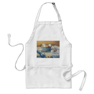 0492 Eggs in Blue Enamel Bowl Adult Apron