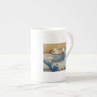 0492 Eggs in Blue Enamel Bowl Tea Cup