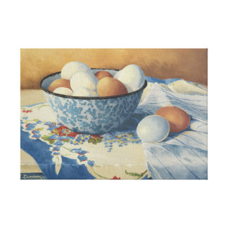 0492 Eggs in Blue Enamel Bowl Wrapped Canvas Print