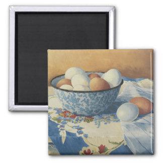 0492 huevos en cuenco azul del esmalte imán cuadrado
