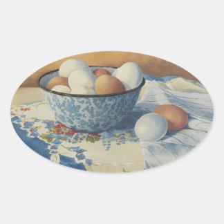 0492 huevos en cuenco azul del esmalte pegatina ovalada