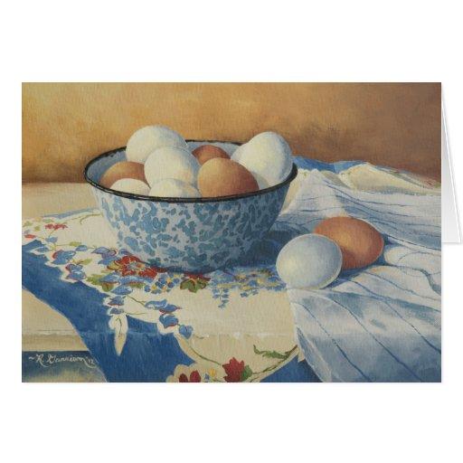 0492 huevos en tarjeta de cumpleaños azul del cuen