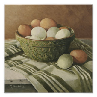 0497 Eggs in Antique Green Bowl Art Print