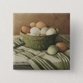 0497 Eggs in Antique Green Bowl Button