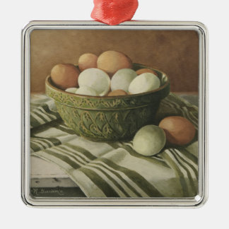 0497 Eggs in Antique Green Bowl Ornaments