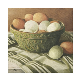 0497 Eggs in Green Bowl Wrapped Canvas Print