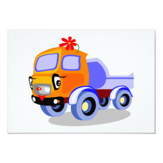 04_033 CUTE TRANSPORT COLOURFUL CARTOON TRUCK RIG 3.5X5 PAPER INVITATION CARD