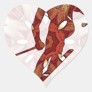 04 de esquí pegatina en forma de corazón
