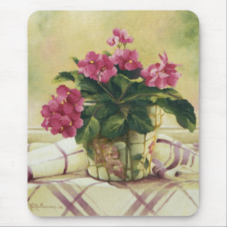 0511 African Violets in Mosaic Planter Mouse Pad