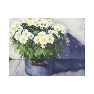 0522 White Mums in Enamel Pot Wrapped Canvas Print