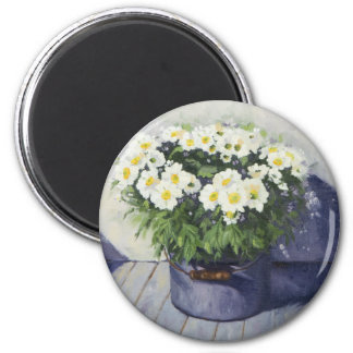 0522 White Mums in Enamelware Pot 2 Inch Round Magnet
