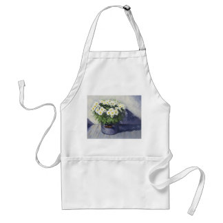 0522 White Mums in Enamelware Pot Adult Apron